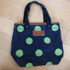 Abercrombie & Fitch Blue & Green Polka Dot Tote